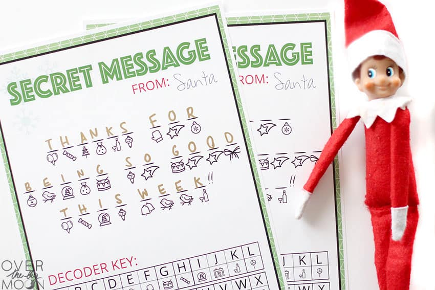 """Secret Message from Santa decoded saying """"Thanks for being so good this week!"""" The Elf is laying to the left of the page."""
