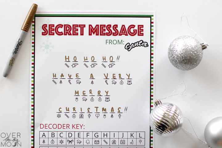 "Decoded Secret Message from Santa Printable - the printable says, ""Ho Ho Ho! Have a very Merry Christmas!"""