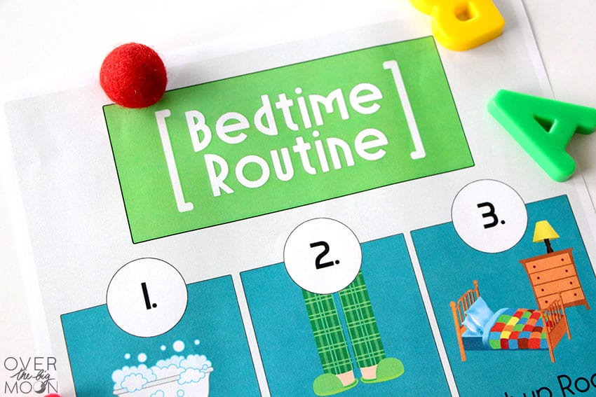 A close up of the Bedtime Routine printable, mainly just showing the top.