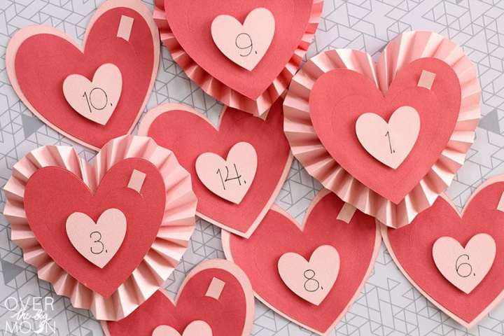 8 different hearts made from Cardstock. Some are made with rosette layers and some are just 3 flat layers. They are numbered between 1 and 14.