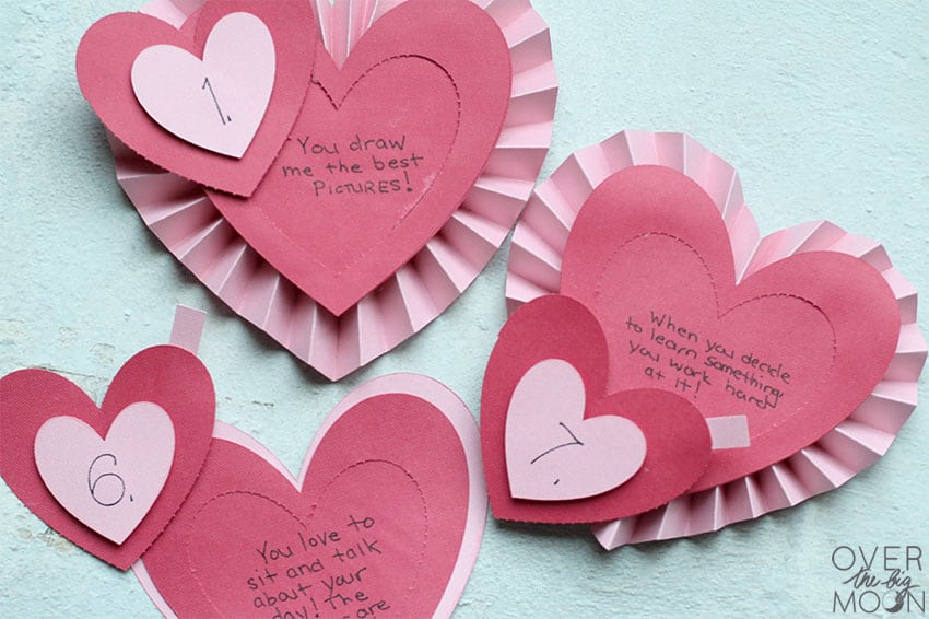 Opened perforation hearts exposing reasons you love somebody!
