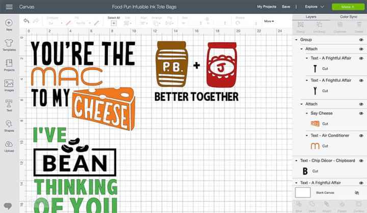 Screenshot of Infusible Ink Tote Bag Food Pun Designs