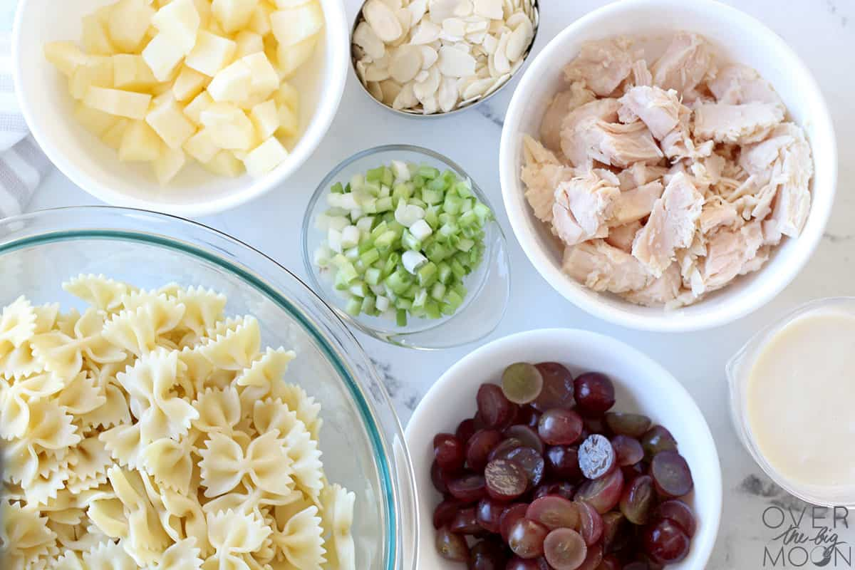 Ingredients to make a Bow Tie Chicken Pasta Salad -- noodles, chicken ,apples, grapes, almonds and green onions.