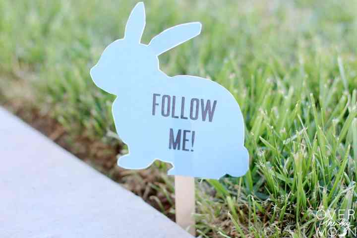 A printed blue bunny sign that says Follow Me! on it, stuck into the grass.