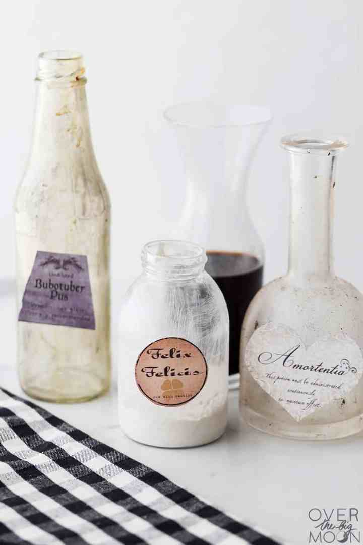 Harry Potter potion bottles distressed using 3 techniques!