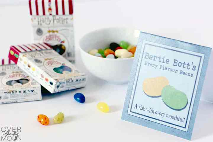 Bertie Bott's Jelly Beans in a bowl and with a candy label next to them.