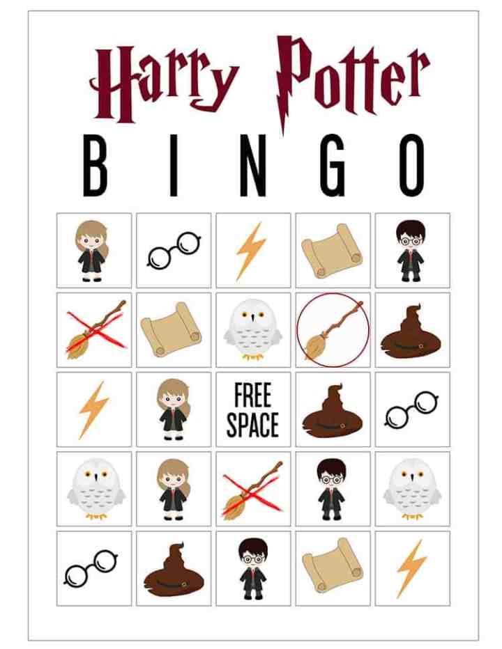 A Harry Potter Bingo Card with G-Broom circled.