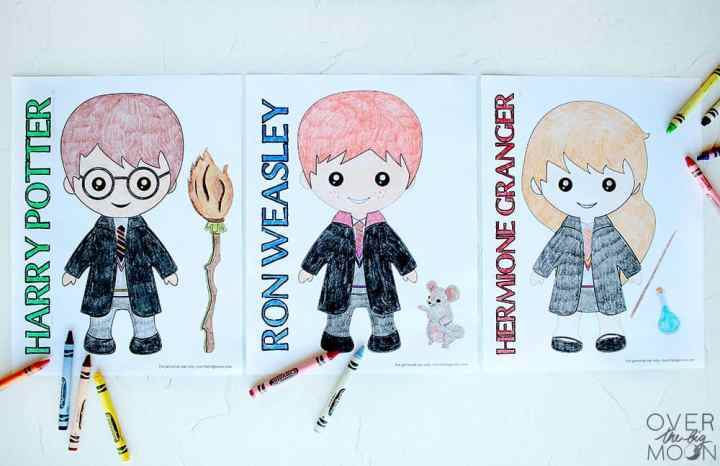 Harry Potter, Ron Weasley and Hermione Granger coloring pages