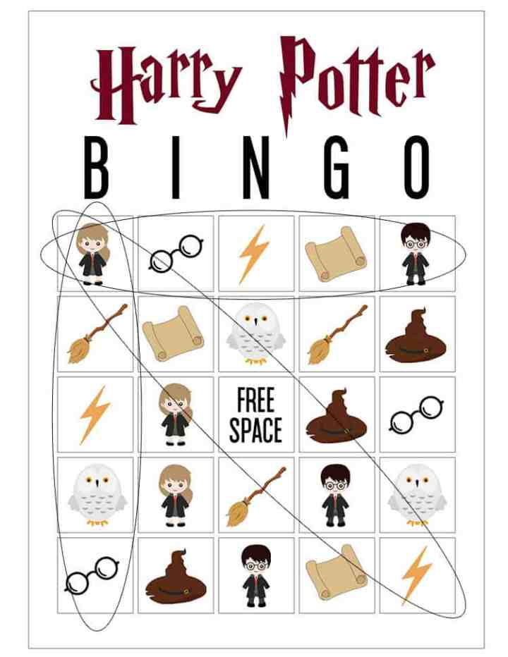 Harry Potter Bingo Cards showing that you can win by getting 5 in a row vertically, horizontally and diagonally.