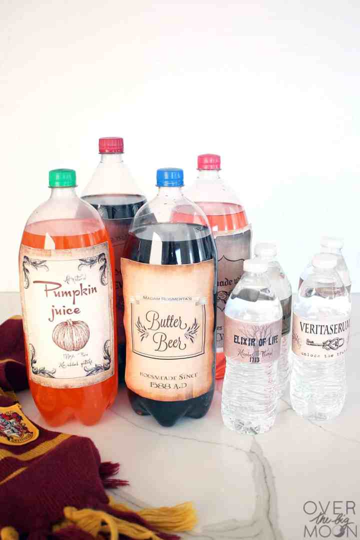 2 Liter Drinks and water bottles covered in Harry Potter drink labels.