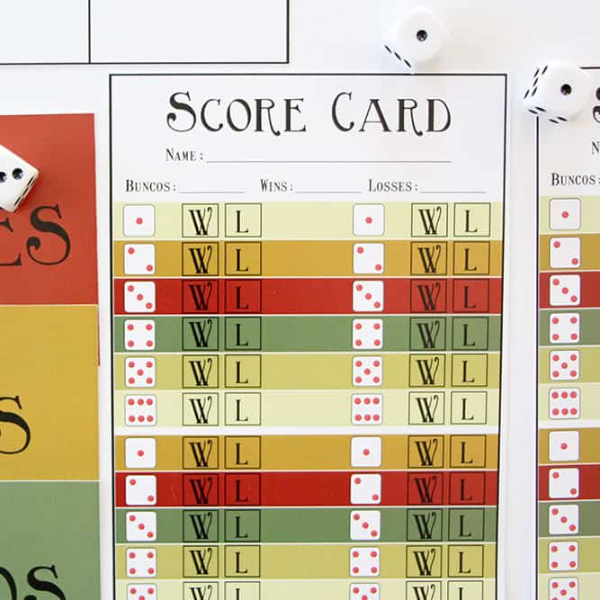 Preview of the Thanksgiving Bunco Score Card Printable.