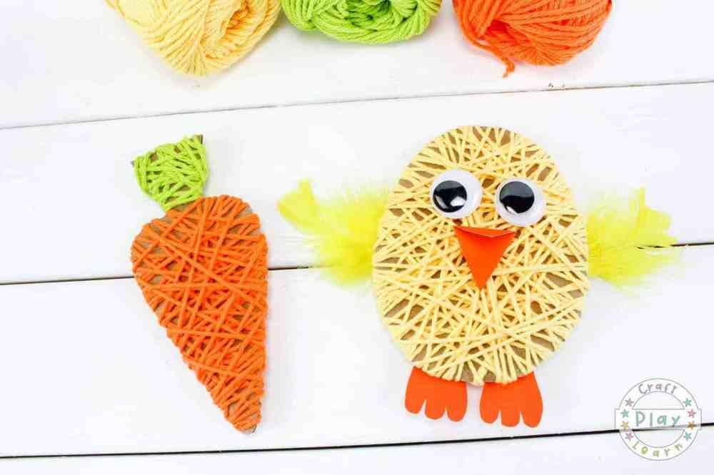 A carrot and Chick made using string, glue and cardboard.