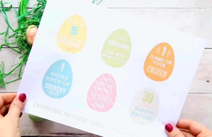 A printed page of Easter Eggs with two hands holding it. The Easter Eggs have privileges written on them.
