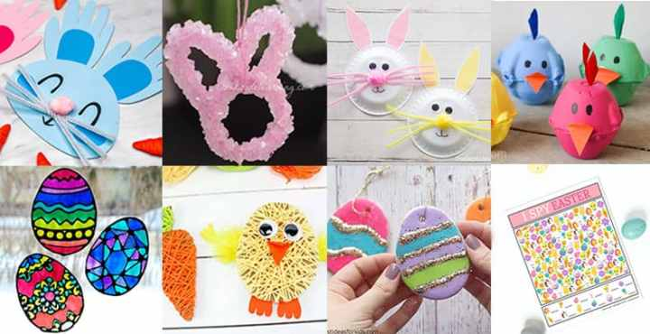 Collage of Easter Crafts and Activities