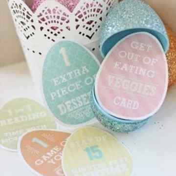 5 printed easter Privilege Cards in all different colors in front of a glitter open plastic Easter Egg.