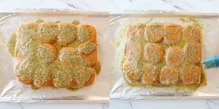 A collage showing a butter sauce over the to of ham and cheese sliders.