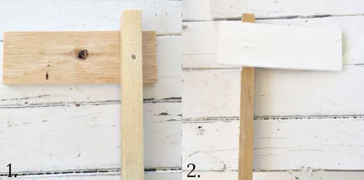 Step by step photos showing attaching two boards together to make a garden marker. The right image shows the top piece painted white.
