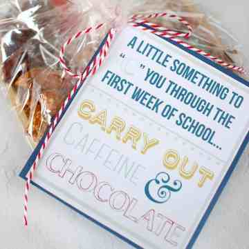 """A Gift Tag that says, """"A Little Something to """"C"""" You Through the First Week of School... Carry Out, Caffeine & Chocolate. The tag is attached to a plate of treats."""