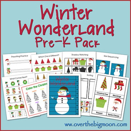 Winter Wonderland Pre-K Pack - 30 pages of Christmas learning and fun for kids ages 2-5! Pre-K Pack is FREE to download! From www.overthebigmoon.com