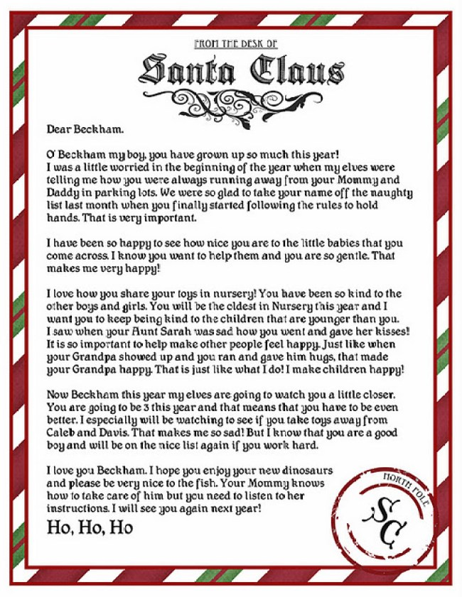 It is a photo of Impeccable Free Printable Letter From Santa