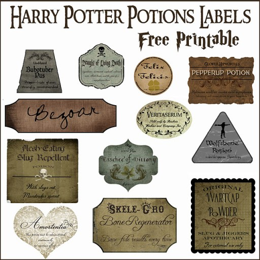 A preview of the Harry Potter Printable Potion Labels!