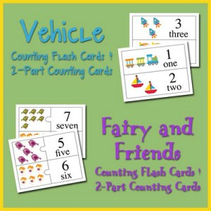 Fairy and Friends and Vehicle Counting Flash Cards and 2-Part Counting Cards