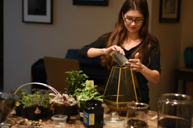 DIY Terrarium for an at home date night. Create these easy terrariums once the kids are in bed for an at home Date Night!