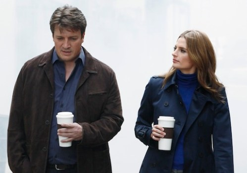 Castle and Beckett with coffee
