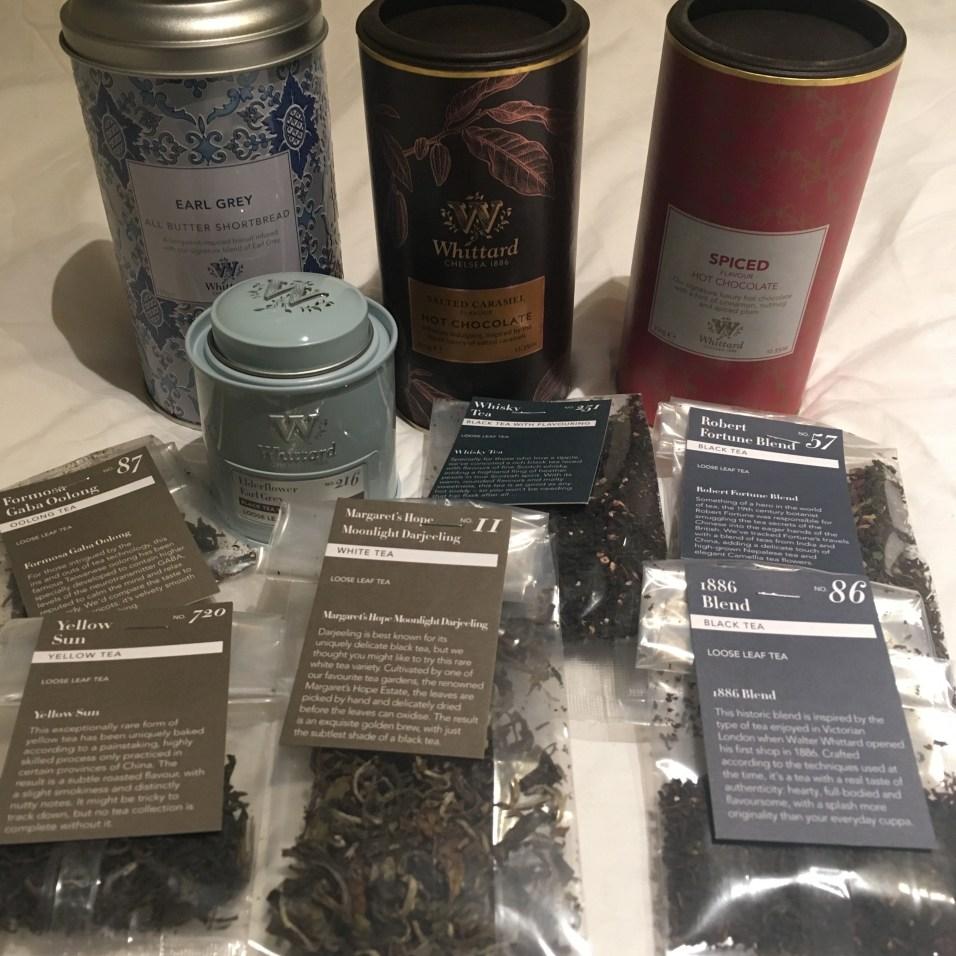 Le butin : des chocolats chauds, des shortbreads à l'Earl Grey et plein d'échantillons de thé Whittard of Chelsea