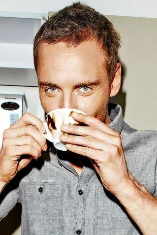 Hot guy drinks tea