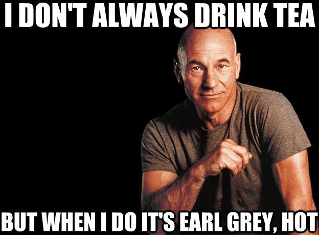 Hot Patrick Stewart drinks earl grey tea
