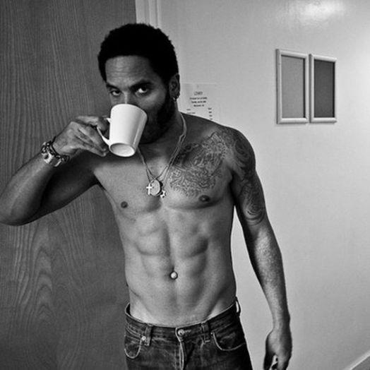 Lenny Kravitz drinks tea half naked