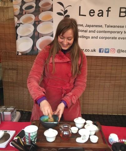 Kristin from The Leaf Bar makes tea in Cambridge Market