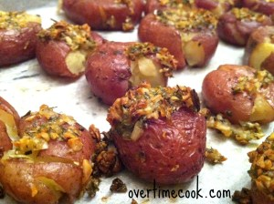 Garlic and Shallot Topped Smashed Potatoes