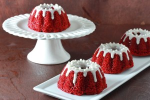 Mini Red Velvet Bundt Cakes with Cream Cheese Glaze
