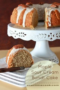 Maple Sour Cream Bundt Cake with Vanilla Bean Bourbon Glaze