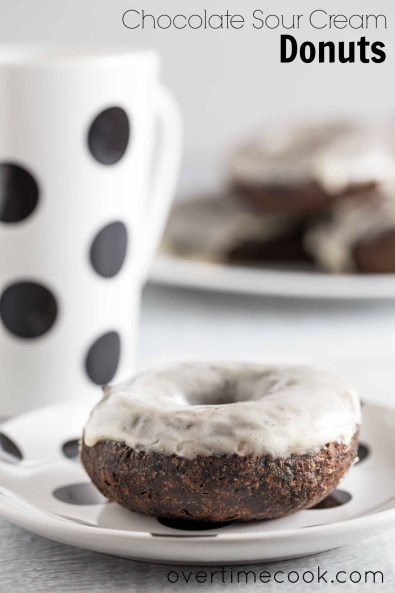chocolate sour cream donuts on overtime cook