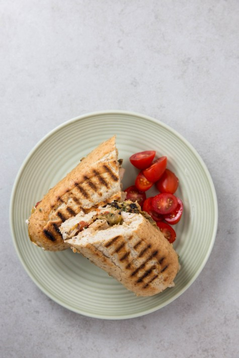 grilled chicken and veg panini