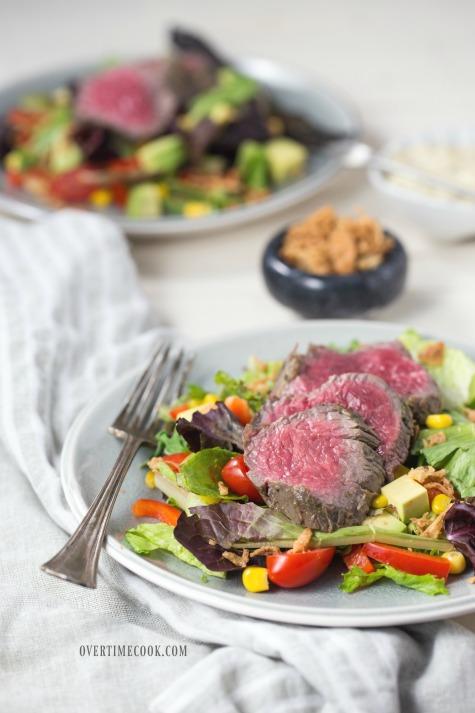 garlic basil steak salad overtime cook 2