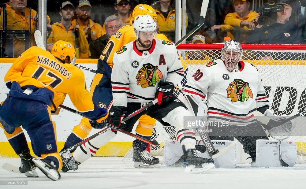 Cam Ward and Brent Seabrook of the Chicago Blackhawks
