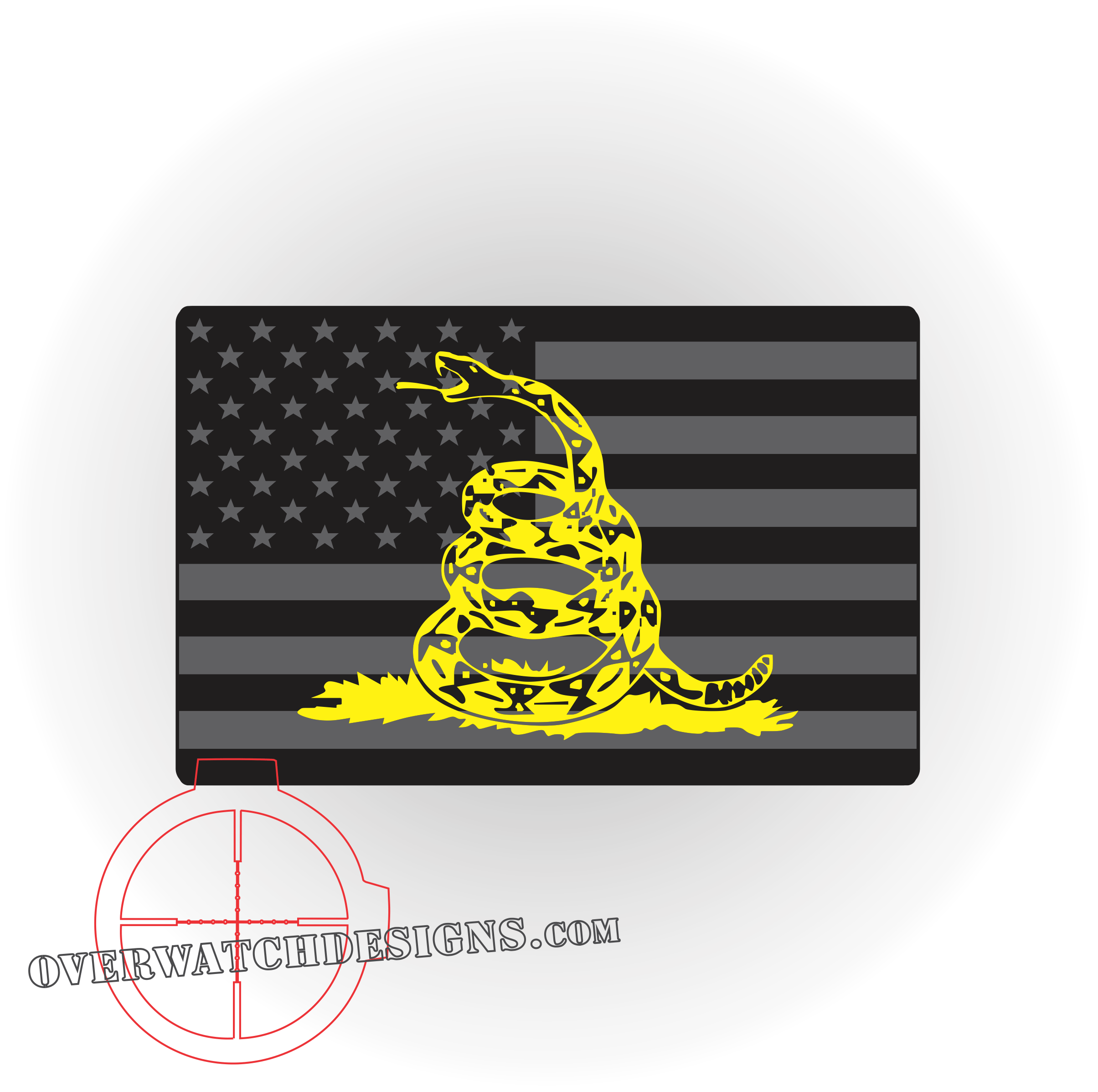 the gadsden flag sticker with the american flag together as a decal