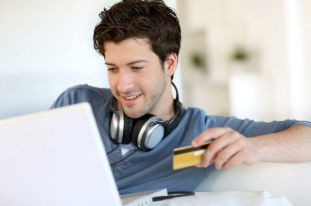person buying music online