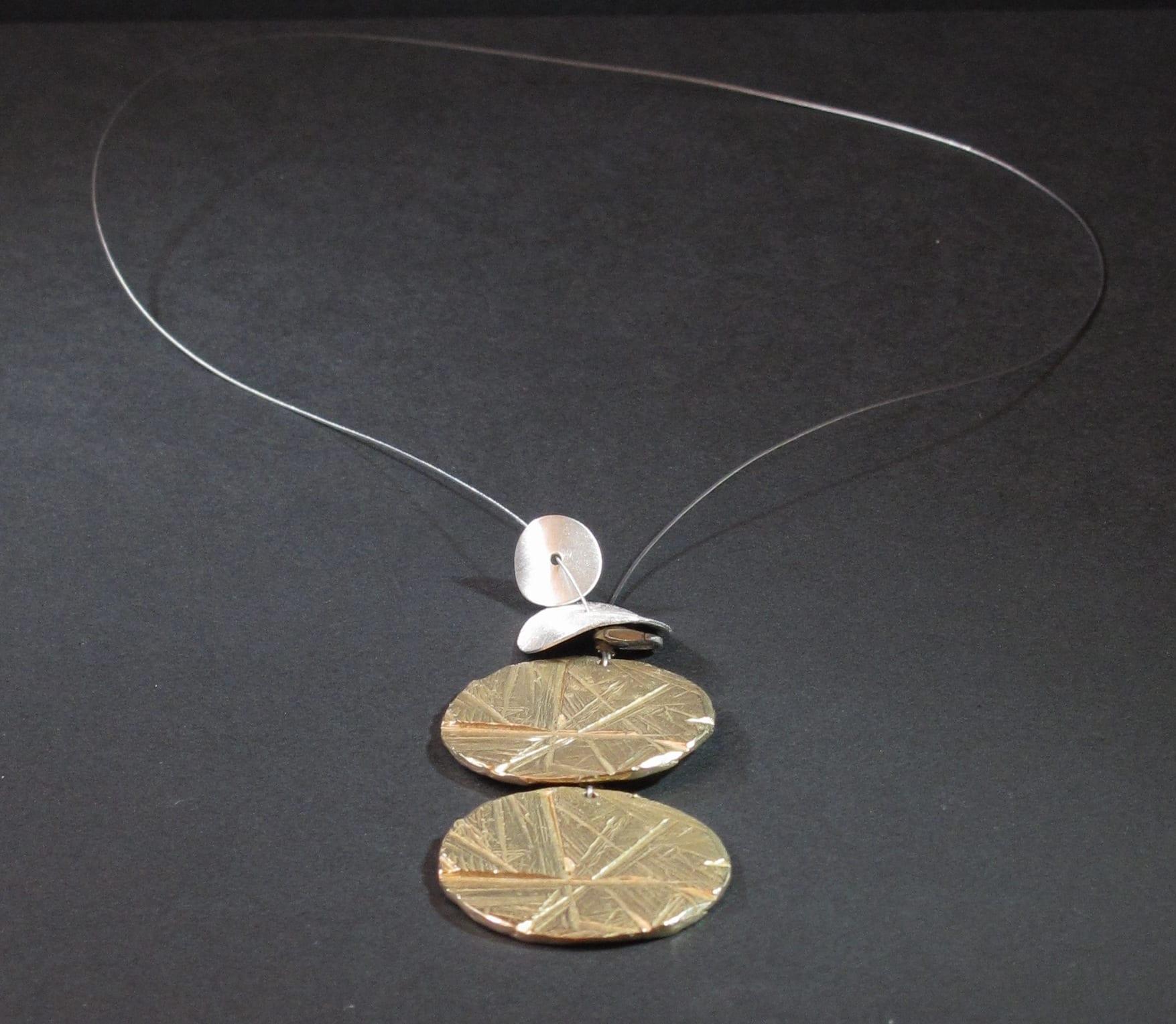 Collier 2 bronze argent fil acier