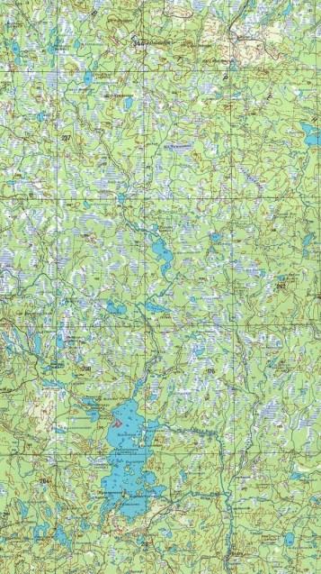 Mapa da região mostrando o ponto (em vermelho) onde o estranho objeto teria caído em 1928.