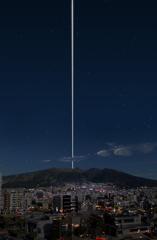 """From the equator, the rings would pass directly overhead and show up as a thin, bright line in the sky, """"arching from horizon to horizon."""" Here's what a photograph of Quito, Ecuador would look like at night:"""