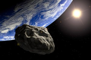 Representação artística de asteroide próximo à Terra