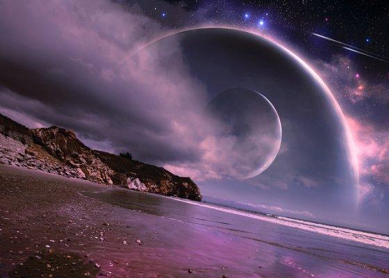 nuvens em planeta alienígena