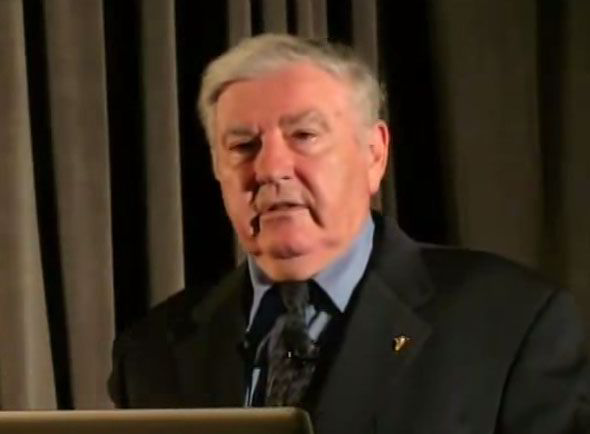 A recent picture of George Filer taken from a recent video of him on the UFO seminar circuit