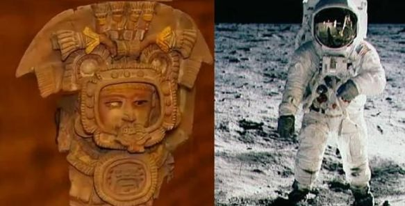Uma comparação entre uma estatueta antiga e um astronauta. As similares são incríveis.