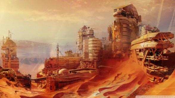 cidade destruída em Marte